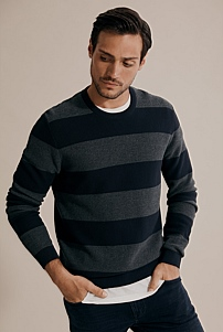 Textured Stripe Crew Knit